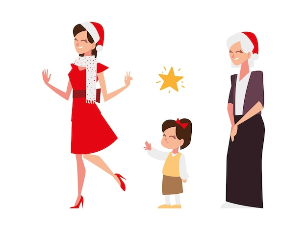 Kerst mensen, vrouw oma en meisje vieren seizoen partij illustratie