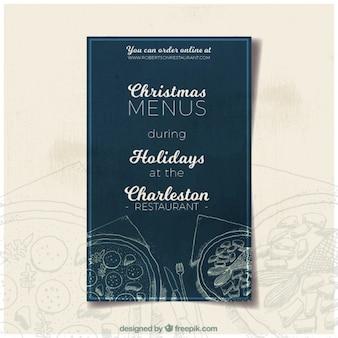Kerst menu flyer in vintage stijl