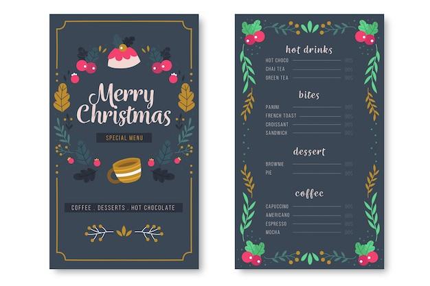 Kerst menu hand getekende sjabloon