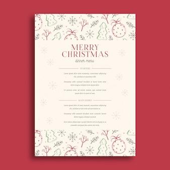 Kerst menu sjabloon hand getrokken ontwerp