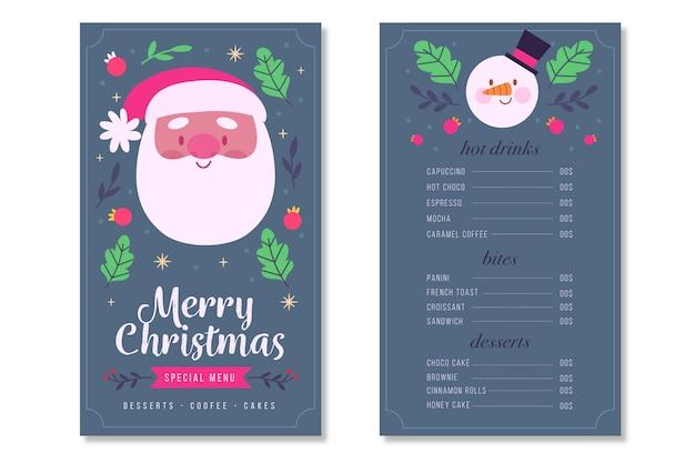 Kerst menu sjabloon hand getrokken