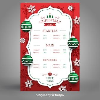 Kerst menu sjabloon platte ontwerpstijl