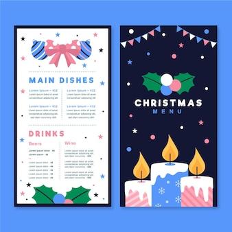Kerst menusjabloon in plat ontwerp
