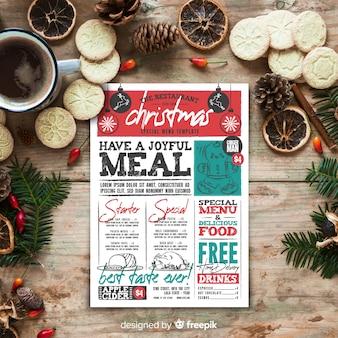 Kerst menusjabloon in vintage stijl