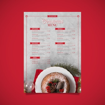 Kerst menusjabloon met afbeelding