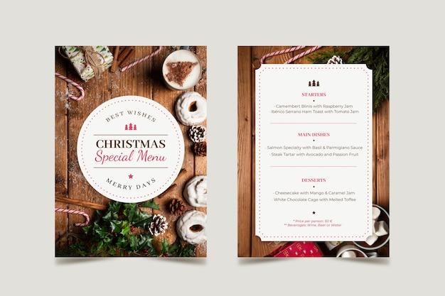 Kerst menusjabloon met foto set