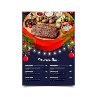 Kerst menusjabloon met foto