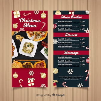 Kerst menusjabloon met fotografie