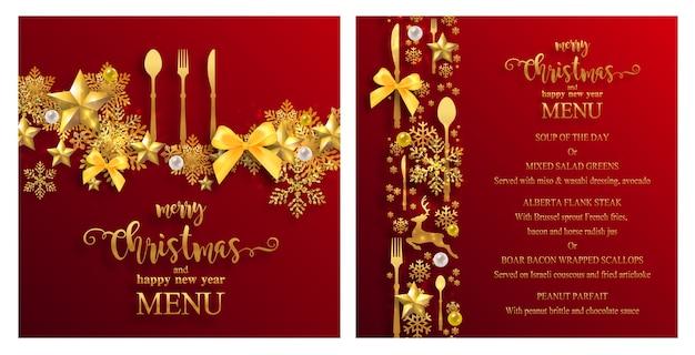 Kerst menusjabloon met luxe gouden en rood ontwerp