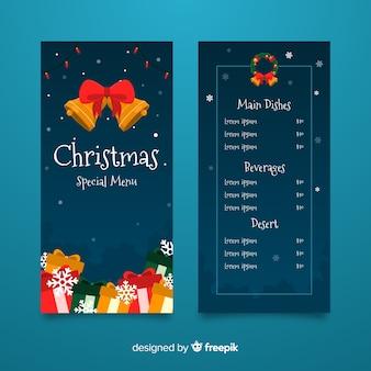 Kerst menusjabloon met platte ontwerp