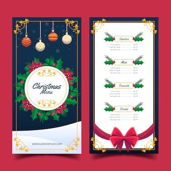 Kerst menusjabloon vlakke stijl