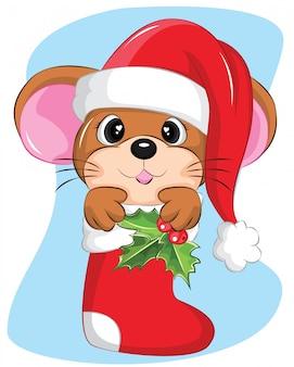 Kerst mis illustratie van muis in sok met kerstmuts