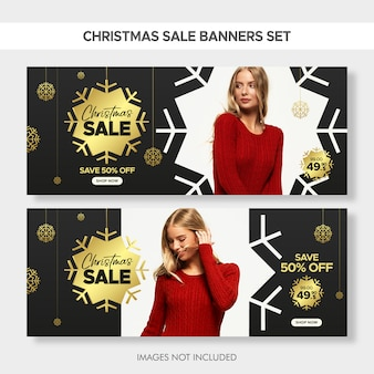 Kerst mode verkoop banners instellen voor web