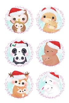 Kerst moederschap met schattige mama en baby dieren.