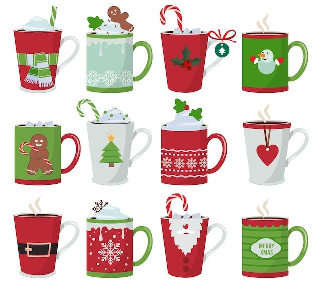 Kerst mok. vakantie decoratie op vaartuig voor warme dranken koffie latte of thee beker cartoon vectorillustraties. kop koffie en mok met warme chocolademelk