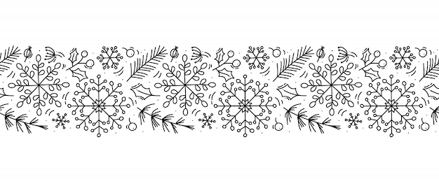 Kerst monoline scandinavische naadloze patroon sieraad