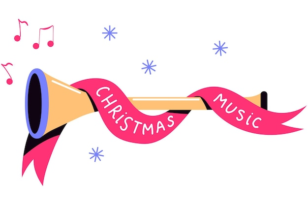 Kerst muziek concept vectorillustratie geïsoleerd op een witte achtergrond.