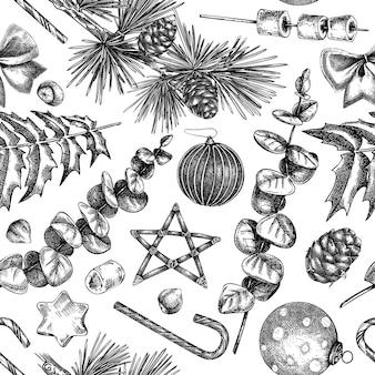 Kerst naadloos patroon handgeschetste vakantieachtergrond met kerstversiering