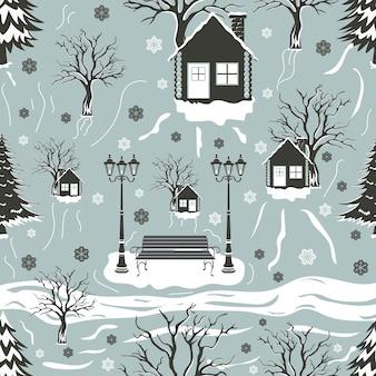 Kerst naadloos patroon met bomen en huis