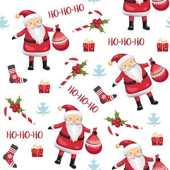Kerst naadloos patroon met de kerstman, snoepjes, sokken, maretak, kerstboom en geschenken op witte achtergrond. vector illustratie