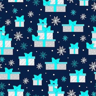 Kerst naadloos patroon met geschenkdozen gekleurde geschenkdozen met weelderige strikken vector