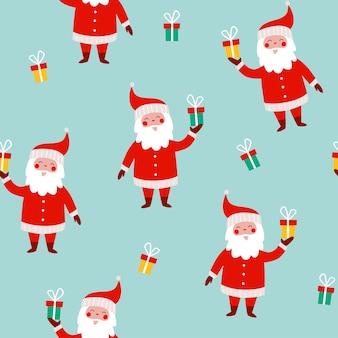 Kerst naadloos patroon met grappige kerstman en geschenken op een blauwe achtergrond