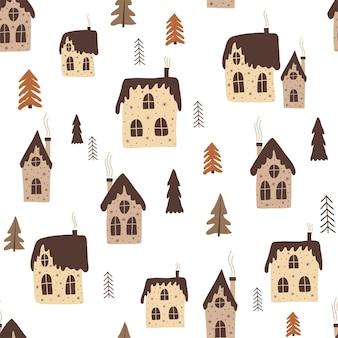 Kerst naadloos patroon met huizen in doodle-stijl