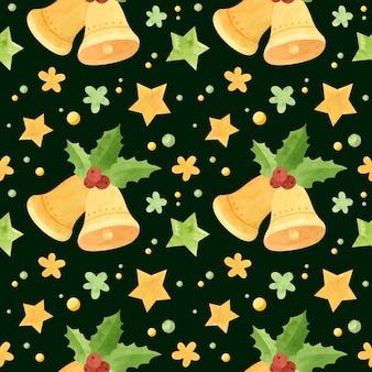 Kerst naadloos patroon met jingle bells en hulstbladeren vakantie digitaal papier