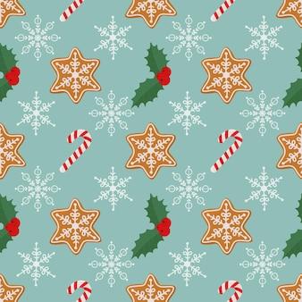 Kerst naadloos patroon met peperkoek koekjes snoep hulst berry vector geïsoleerde illustratie