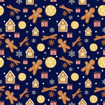 Kerst naadloos patroon met peperkoekkoekjes, kaneel, sinaasappel, cadeau, vanille, sneeuwvlokken.