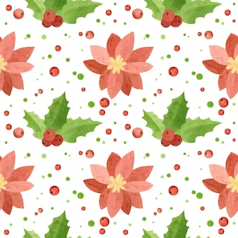 Kerst naadloos patroon met poinsettia bloemen en hulstbladeren vakantie digitaal papier