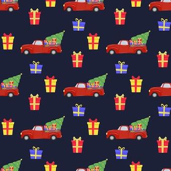 Kerst naadloos patroon met rode auto kerstboom geschenken