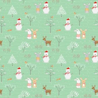 Kerst naadloos patroon met schattige dieren blij met de winter