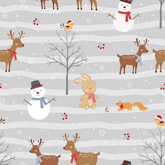 Kerst naadloos patroon met schattige dieren en sneeuwpop op winterachtergrond, vectorillustratie