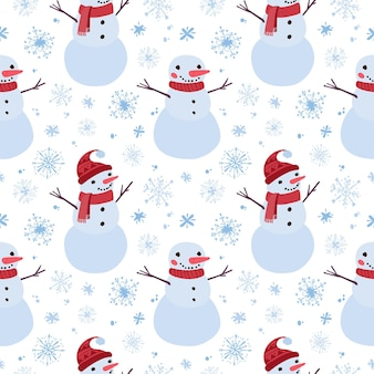 Kerst naadloos patroon met sneeuwmannen en sneeuwvlokken vakantie digitaal papier