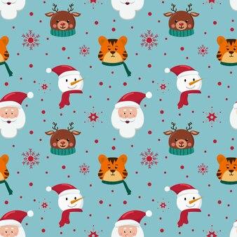 Kerst naadloos patroon met sneeuwpop, santa claus-tijger en herten op blauwe achtergrond