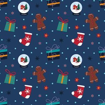Kerst naadloos patroon met sneeuwvlokken, cadeau, sneeuwbal, sok, peperkoekman op blauwe achtergrond