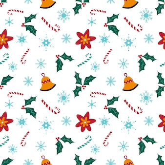 Kerst naadloos patroon met sneeuwvlokken, snoep, kerstster, bel en hulst op witte achtergrond. hand getekende vectorillustratie