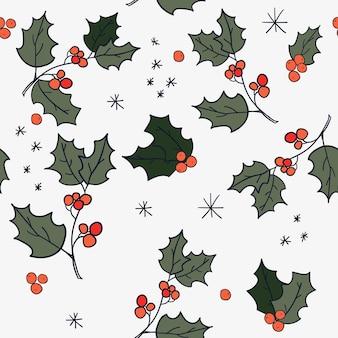 Kerst naadloos patroon met vallende sneeuw en rode hulstbes wintervakantie achtergrond