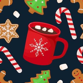 Kerst naadloos patroon met warme chocolademelk marshmallow lolly peperkoek vector