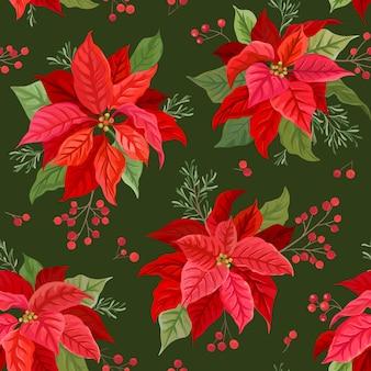 Kerst naadloos patroon met winter bloem, poinsettia, maretak, takken van rowan boom met bessen. handgetekende bloemen vectorillustratie voor inpakpapier, textiel, stof, print, behang