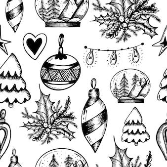 Kerst naadloos patroon op een afgelegen witte achtergrond kerst print in de hand tekenstijl