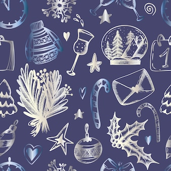 Kerst naadloos patroon op een blauwe achtergrond kerst print in de hand tekenstijl