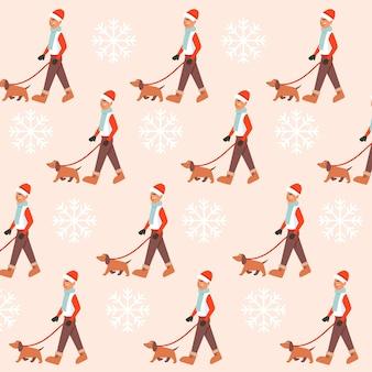 Kerst naadloos patroon van een man die met zijn hond loopt tijdens het sneeuwen in het winterseizoen