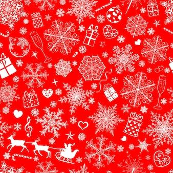Kerst naadloos patroon van grote en kleine sneeuwvlokken en verschillende kerstsymbolen, wit op rood