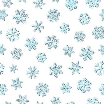 Kerst naadloos patroon van sneeuwvlokken, lichtblauw op witte achtergrond