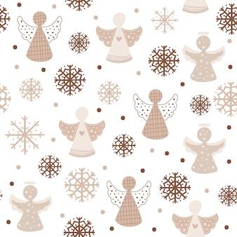 Kerst naadloos patroonontwerp met engelen. vector illustratie.