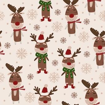 Kerst naadloos patroonontwerp met rendieren. vector illustratie.