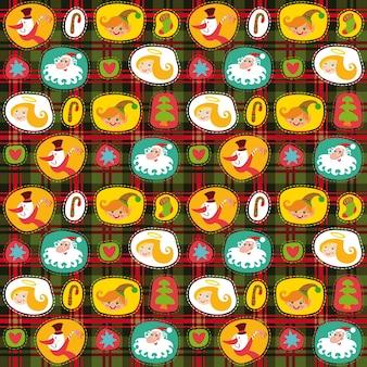 Kerst naadloze achtergrond, geruit patroon, vakantie inpakpapier