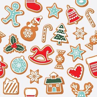 Kerst naadloze achtergrond. peperkoekkoekjes.